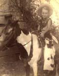 "Walter (""Buddy"") on roving photographer's pony in 1938-39  Click on image to enlarge."