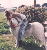 Rachelle with Shashka prior to his untimely death by cancer at age 12.  Click on image to enlarge.