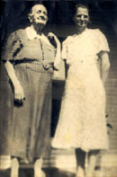Walter's great-grandmother Louisiana Milstead with his grandmother, Lucy Milstead Lasyone.  Click on image to enlarge.